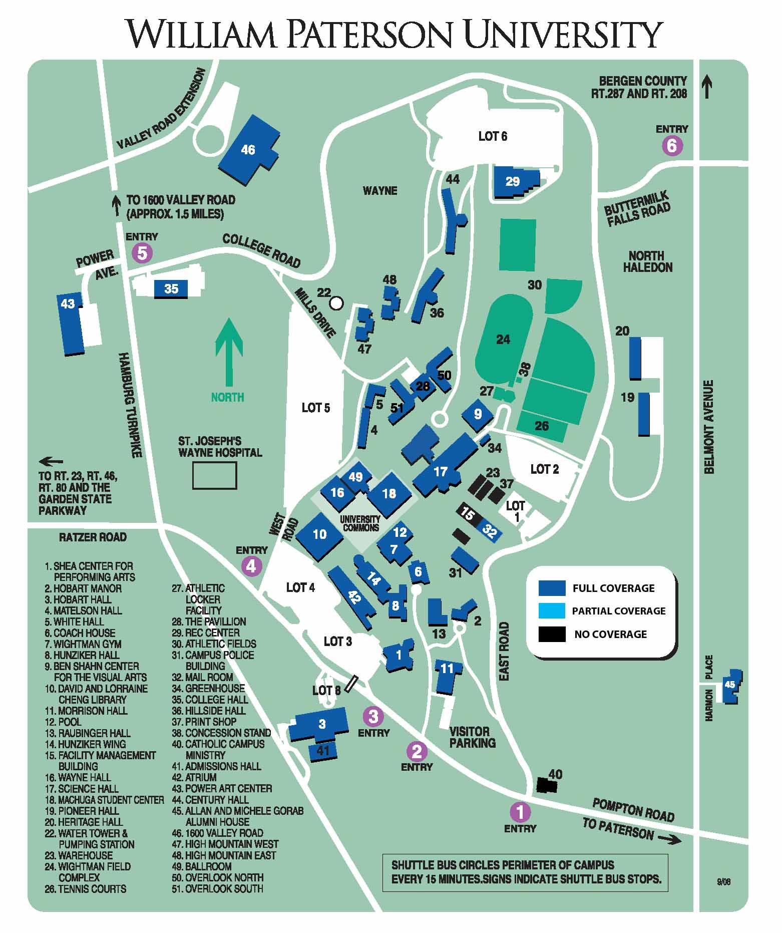william paterson university campus map Coverage Areas William Paterson University william paterson university campus map